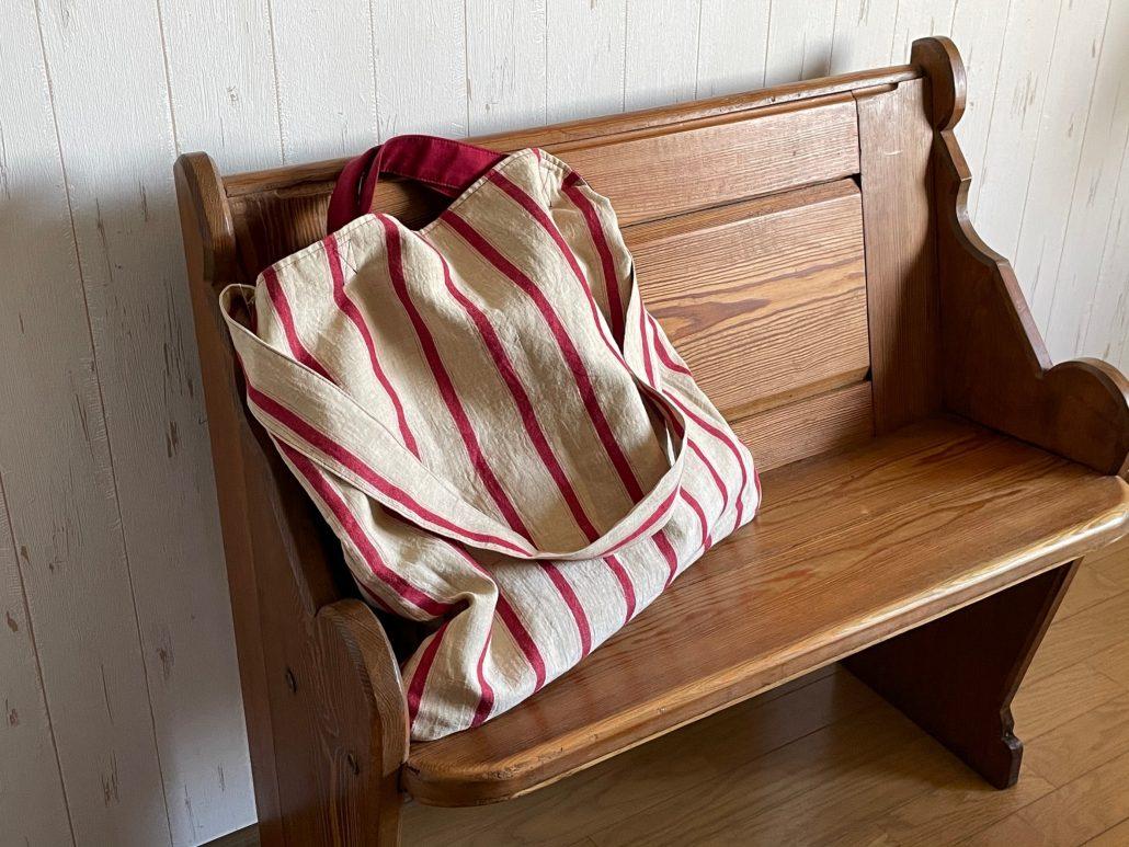 red stripe tote bag & big bag