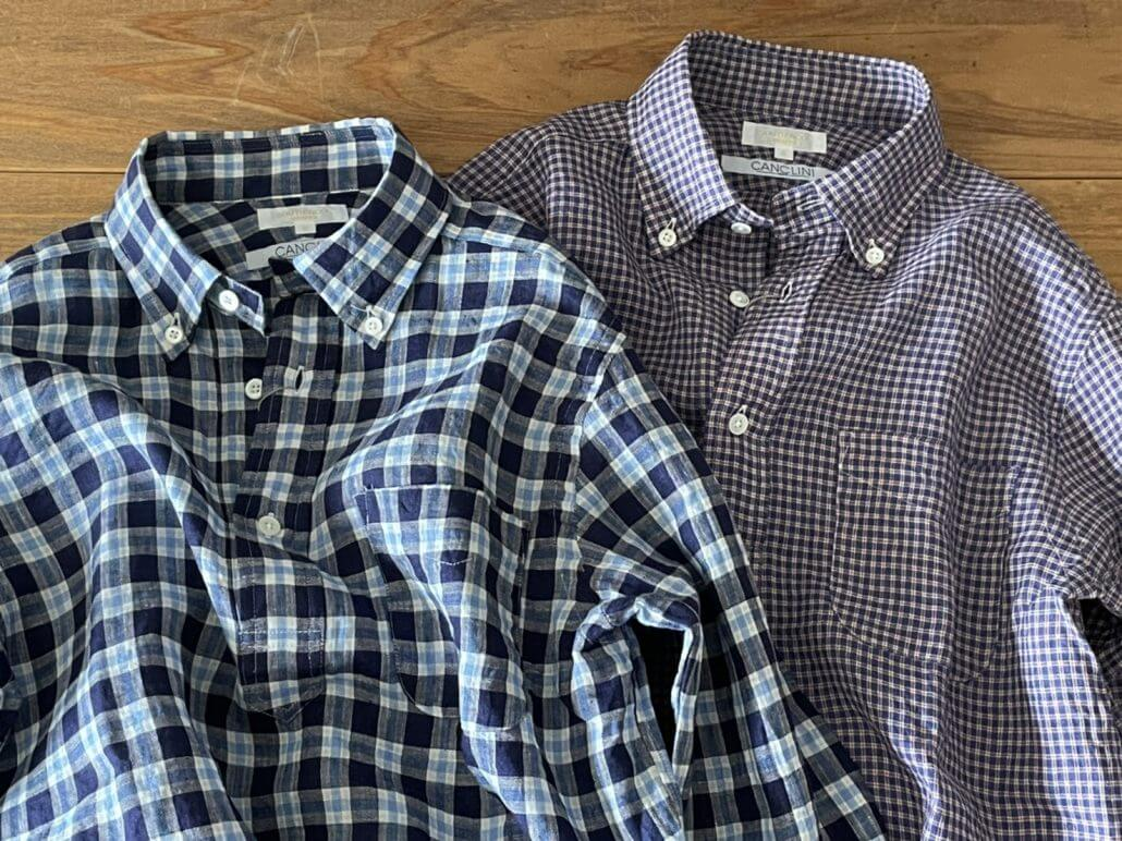 SOUTIENCOL RE-MAKE POLO LINEN CHECK B.D.SHIRT