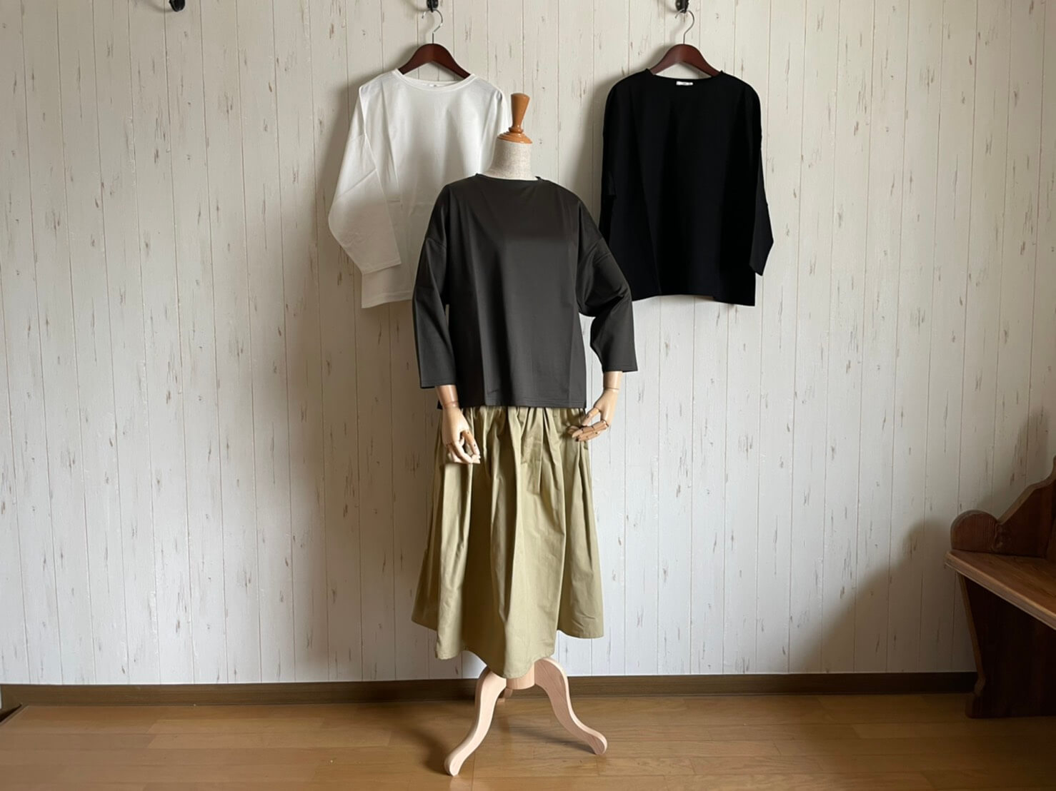 GLAZ Three-quarter sleeve T-shirt ミヌレ天竺七分袖Tシャツ