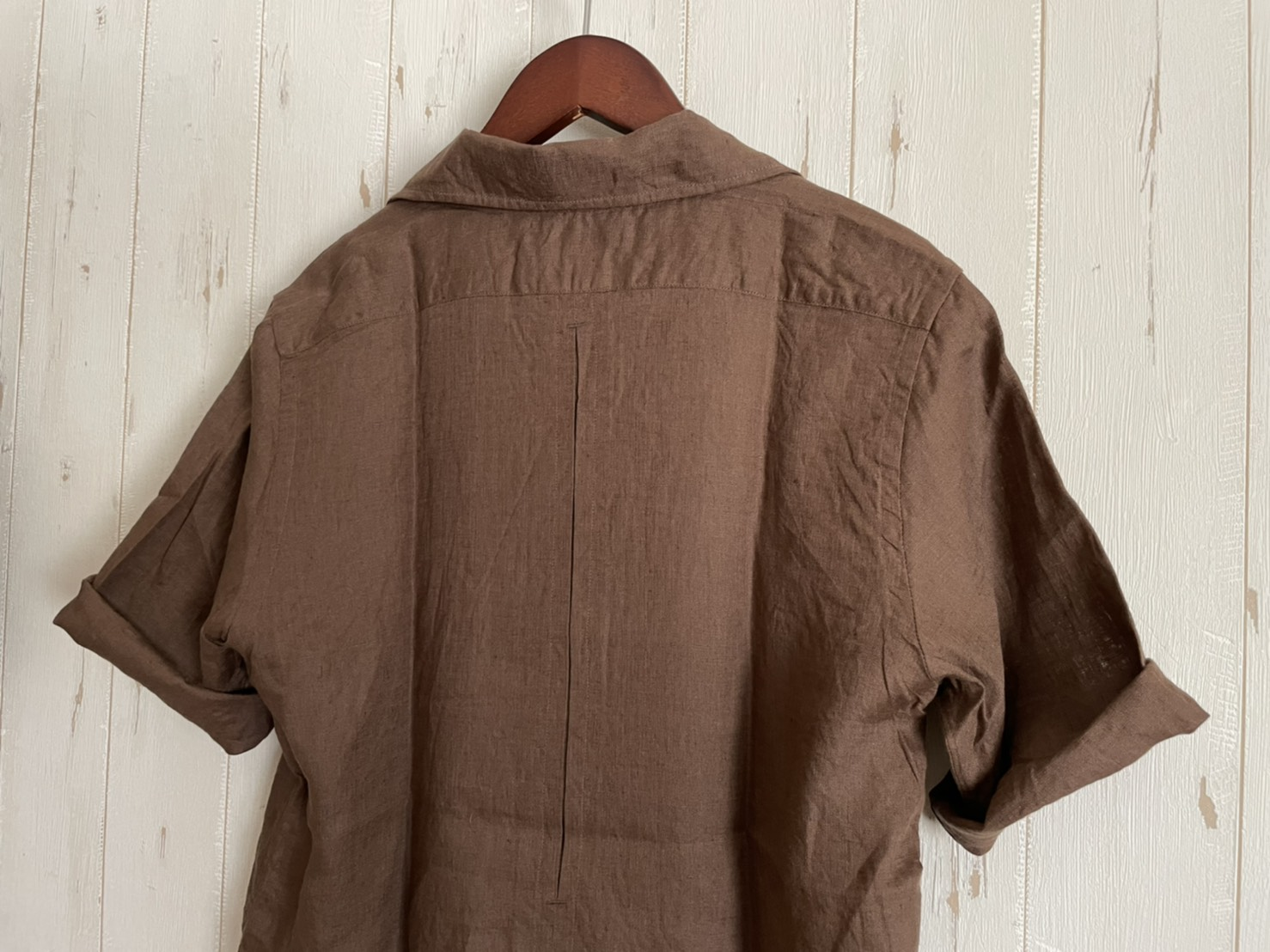 SOUTIENCOL Audrey リネンの半袖オープンシャツオードリー